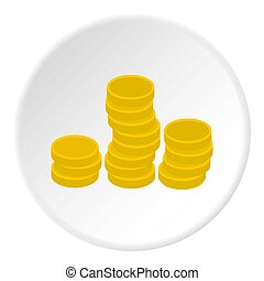 Gold coins icon circle