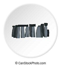 Stonehenge icon circle - Stonehenge icon in flat circle...