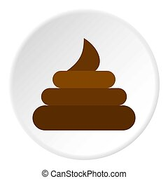 Turd icon circle - Turd icon in flat circle isolated...
