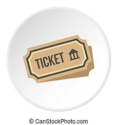 Museum ticket icon circle - Museum ticket icon in flat...