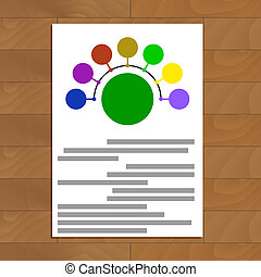 Round scheme document. Connect colored round. Vector...