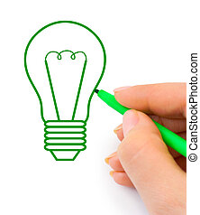 Hand drawing lamp isolated on white background