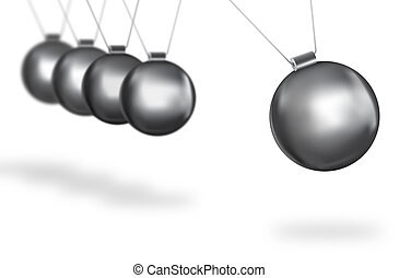 silver balls swinging concept - newtons cradle concept of...