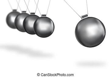 prata, Bolas, Balançando, conceito