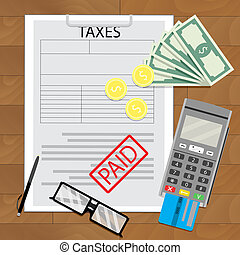 Taxation in business, tax paid document, credit card and...
