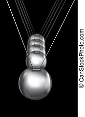newtons cradle silver balls on black background