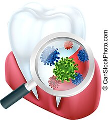 Tooth Magnified Bacteria - A medical dental illustration of...