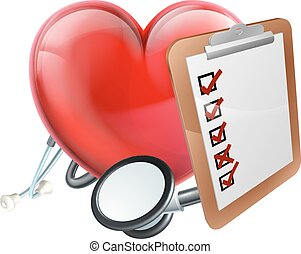 Heart Stethoscope Clipboard Medical Concept