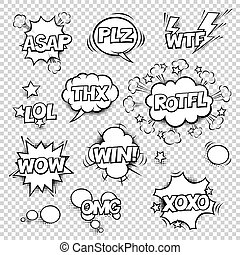 Thx, ASAP, PLZ, WTF, LOL, ROTFL, WOW, WIN, OMG, XOXO. Comic speech bubbles set with different shapes and elements. Vector cartoon illustrations isolated on white background. Halftones, stars and other elements in separated layers. Black and white.