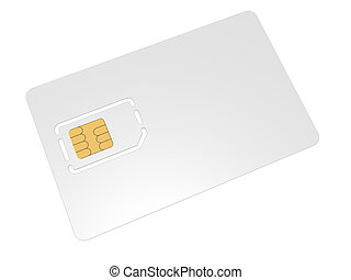 Blank mobile sim card on a white background