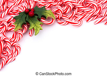 Candy Cane Border - Mini candy canes making a border on a...