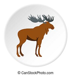 Moose icon circle - Moose icon in flat circle isolated...