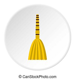 Besom icon circle - Besom icon in flat circle isolated...