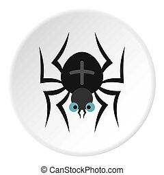 Spider icon circle - Spider icon in flat circle isolated...