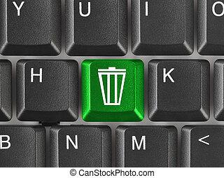 電腦, 鍵盤, 垃圾, 鑰匙