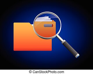 Search folder and magnifying glass icon, illustration