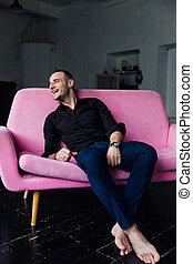 cor-de-rosa, azul, sótão, pants., sofá, relógio, homem...