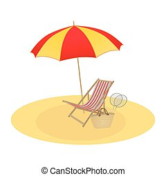 Illustration on a summer theme, umbrella and chaise longue..eps