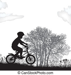 Boy on a bicycle - illustration boy on a bicycle in the...