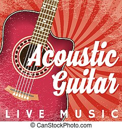 Vector retro poster with swirls and guitar