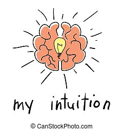 Intuition abstract concept - Light bulb and Brain Idea...