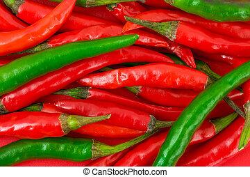 haufen, grün, rotes, heiß, chili, pfeffer