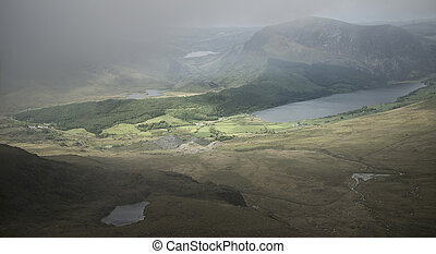 Landscape view of Llyn Cwellyn and Moel Cynghorion in...