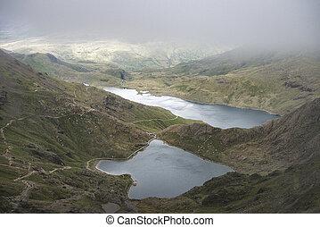 Landscape image of Glaslyn and Llyn Llydaw in Snowdonia with...