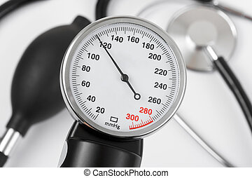 Scale of pressure and stethoscope - abstract medical...