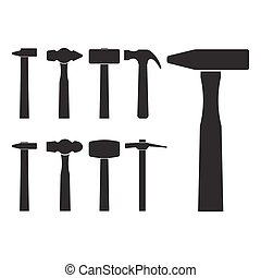 Set of different hammer silhouette icons, isolated on white...