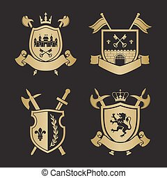 Coats of arms - shields with crown, town, halberds at the...