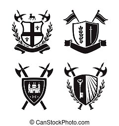 Coats of arms - shields with fleur-de-lys, town, halberds at...
