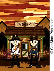 Cute Cowboys at Jailhouse - Cute Cartoon Cowboys outside the...