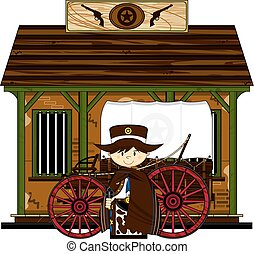 Cute Cowboy at Jailhouse - Cute Cartoon Cowboy outside the...