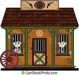 Cute Cowboys at Jailhouse - Cute Cartoon Cowboy inside the...