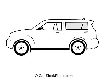 outlined suv - illustration, outlined suv isolated on white...