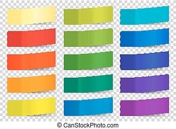 Set of colorful vector sticky notes on white background -...