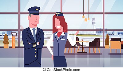 Pilot And Stewardess In Airport Airline Crew Workers Team