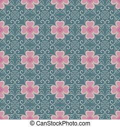 ピンク, 花,  seamless, パターン, 緑, 背景, ツタ