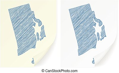 Rhode island scribble map on a white background.