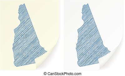 New Hampshire scribble map on a white background.