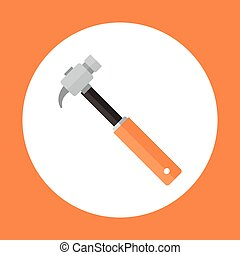 Hammer Icon Working Hand Tool Equipment Concept Vector...