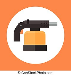 Torch Icon Working Hand Tool Equipment Concept Vector...