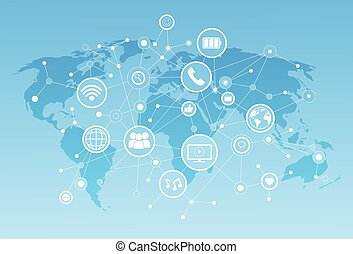 Social Media Icons Over World Map Background Network...