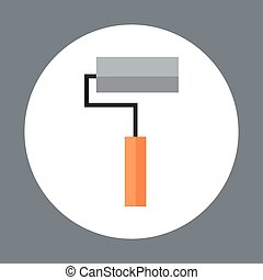 Roller Icon Working Hand Tool Equipment Concept Vector...