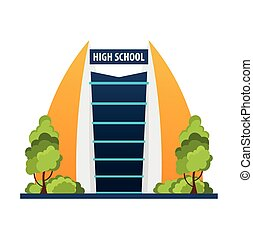 High school Modern building in flat style isolated on white background.