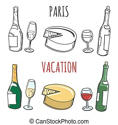 Coloring page with popular french food - Coloring page Paris...