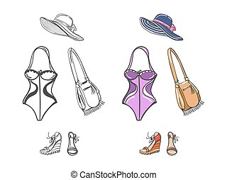 Fashion beach look for girl. Swimwear, shoes, hat and bag...