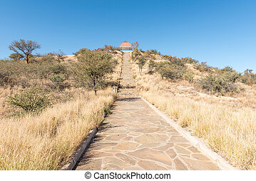 Steps leading to the viewpoint at Heroes Acre in Windhoek -...