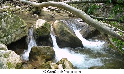 Waterfall on a Mountain River of Crimea - Waterfall on a...